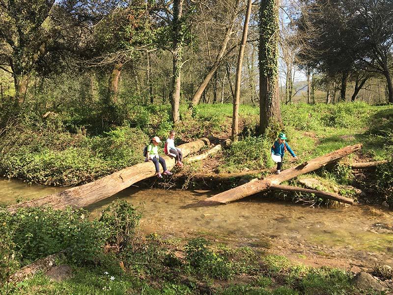 Travessant el riu a les colònies escolars de Mas Coromina